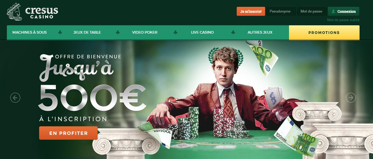 Page d'accueil cresus Casino