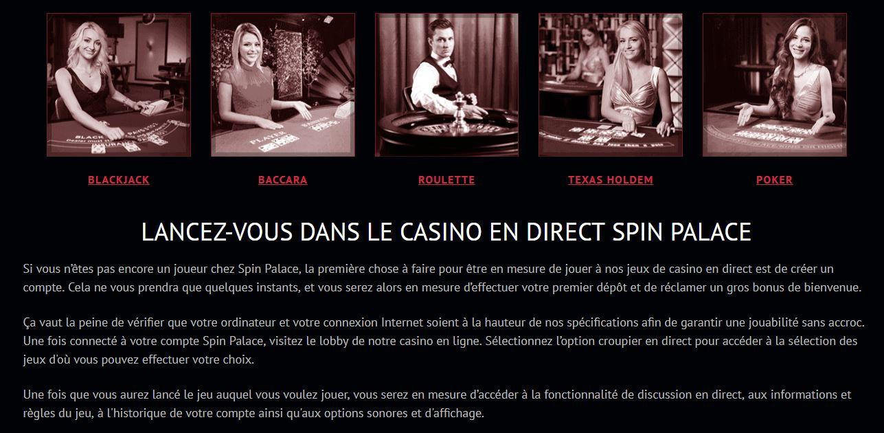 Les jeux de casino en live