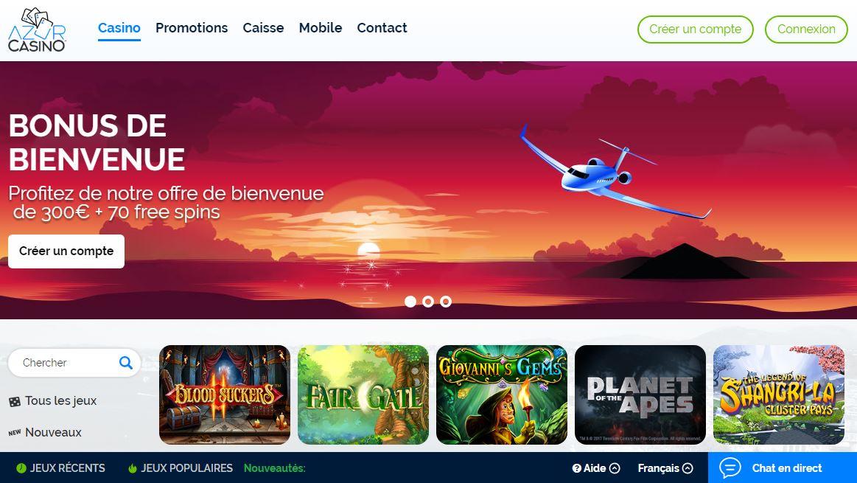 Page d'accueil AzurCasino