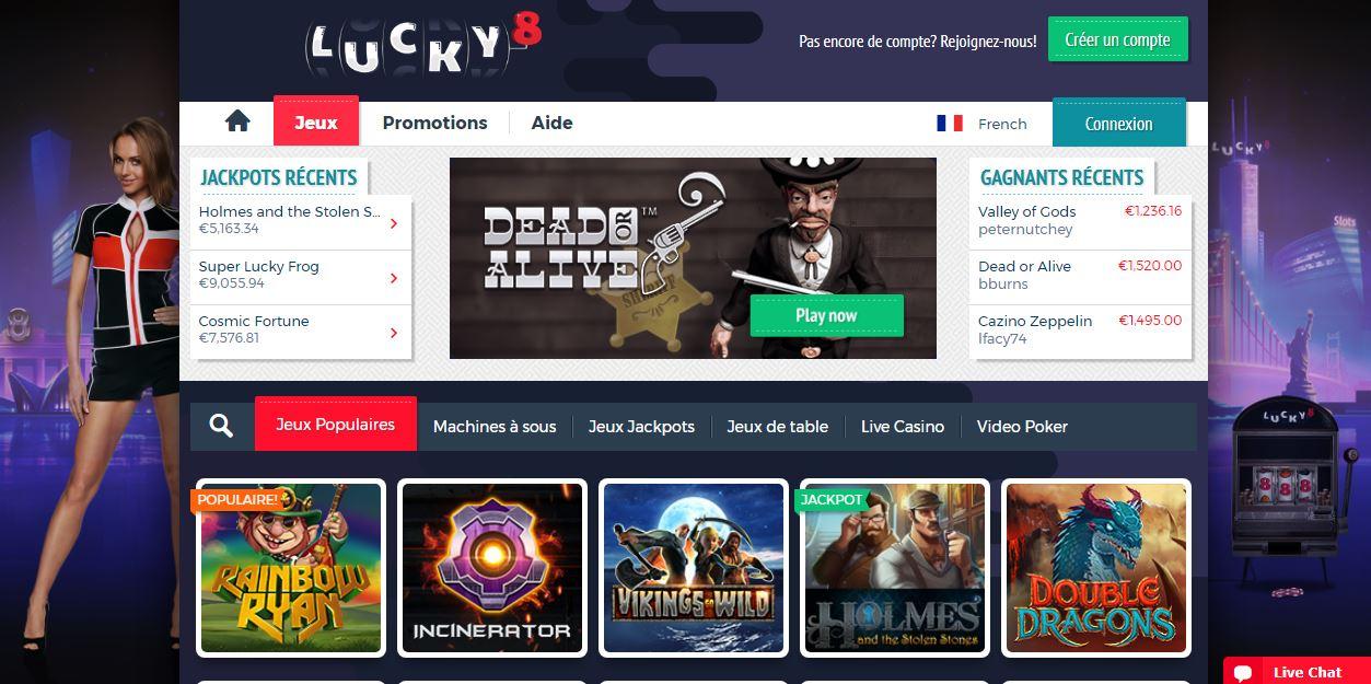 Lucky8 - capture de la page d'accueil