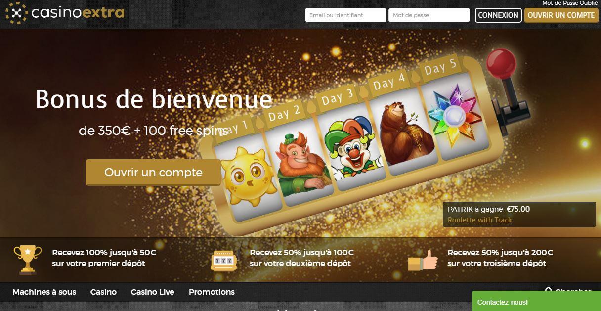Casino Extra - capture écran page d'accueil