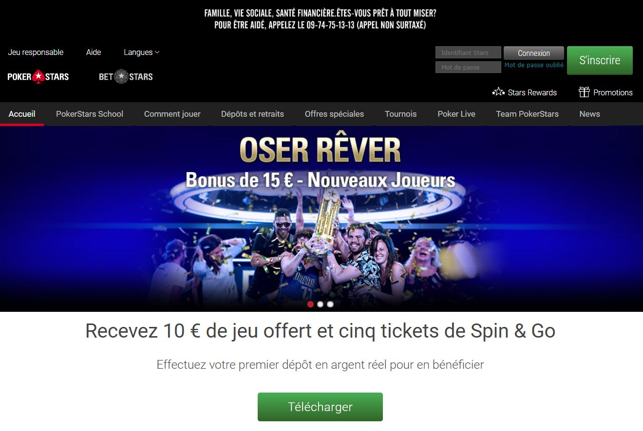 Pokerstars - page d'accueil