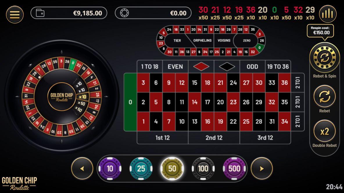 Golden Chip Roulette - Yggdrasil - capture écran