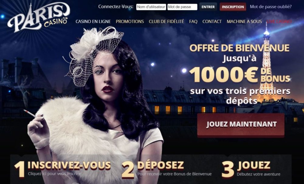 Paris Casino - page d'accueil et ses bonus