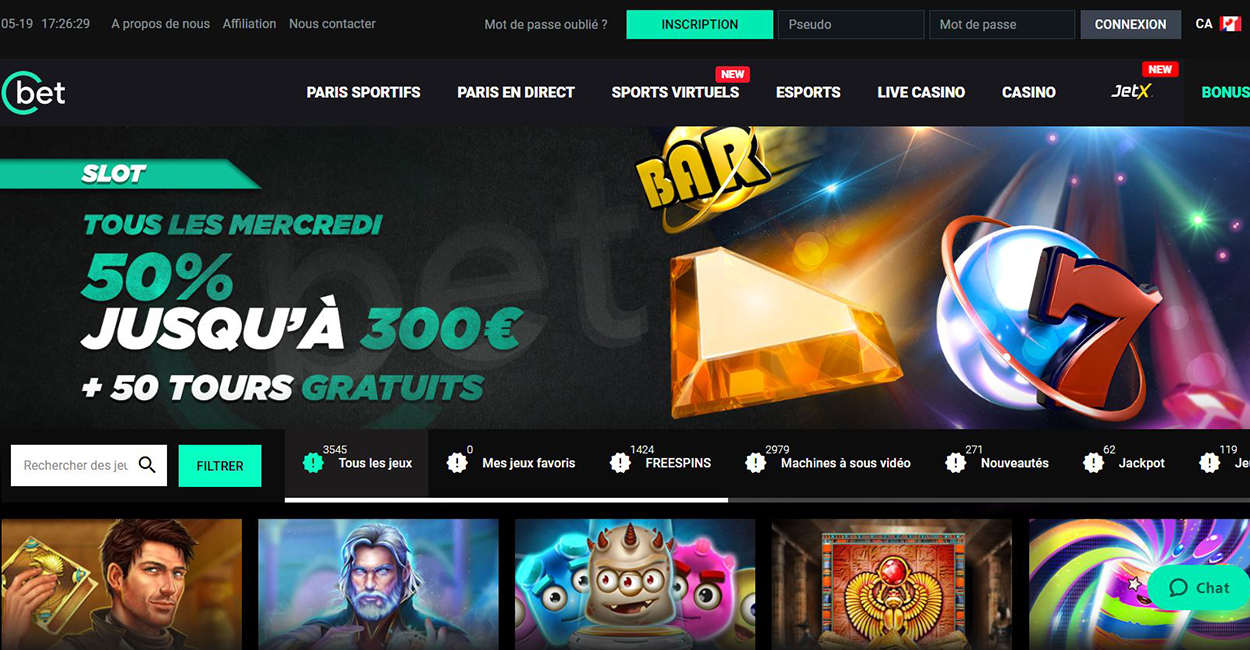 Cbet Casino - capture écran