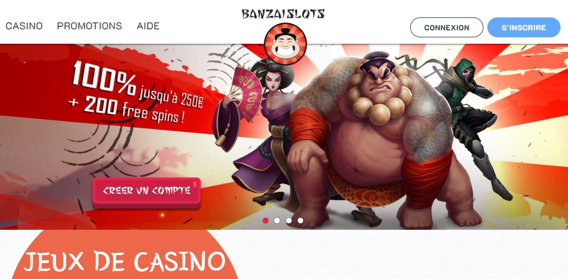 Banzai Slots - Capture écran page d'accueil septembre 2020