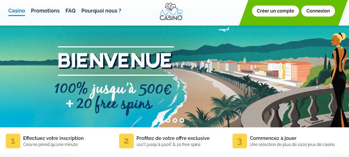 Azur Casino 2 - capture écran page d'accueil 2020