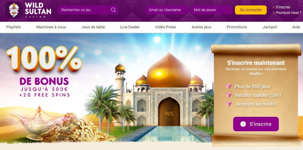 Wild Sultan - capture page d'accueil - octobre 2020