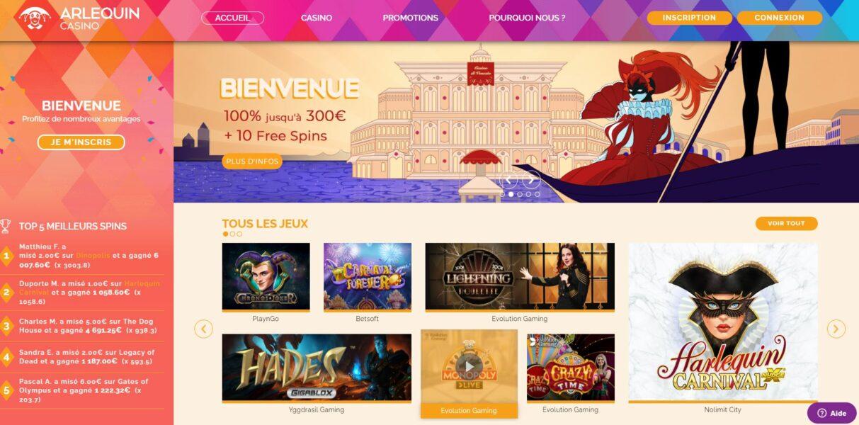 Arlequin Casino - capture écran page d'accueil